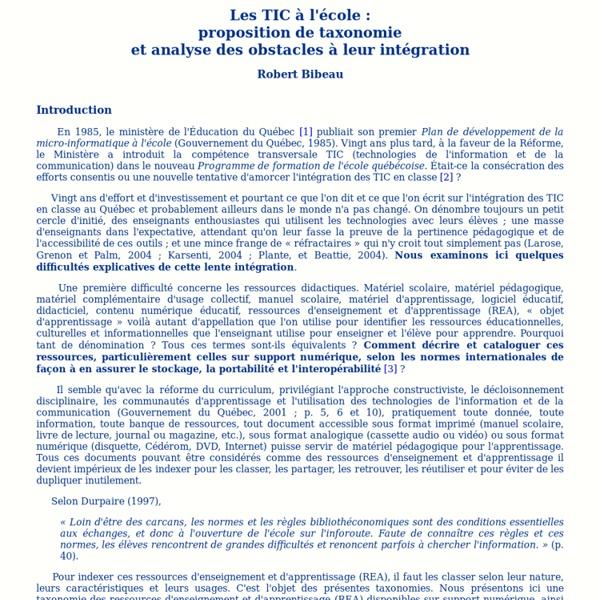 Les ressources numériques à l'école: proposition de taxonomies