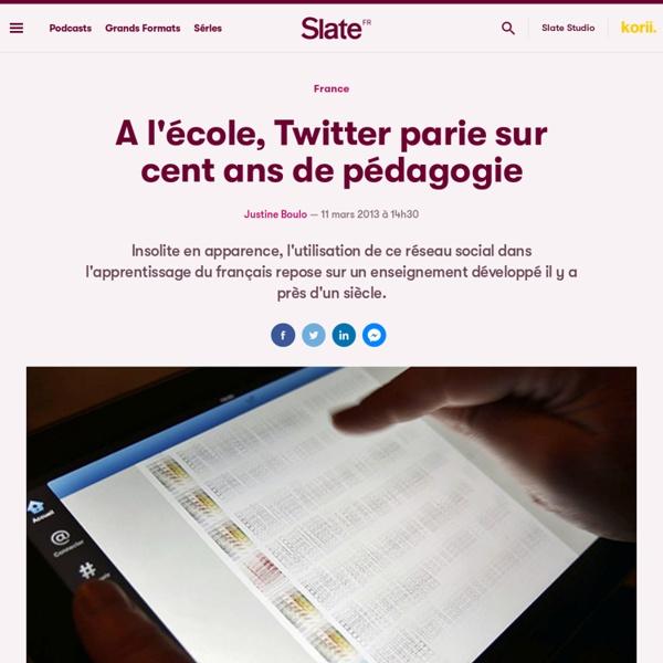 A l'école, Twitter parie sur cent ans de pédagogie