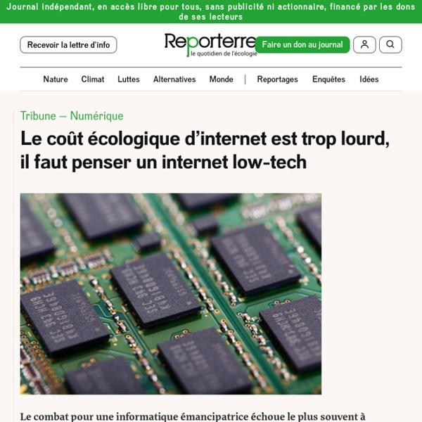 Le coût écologique d'internet est trop lourd, il faut penser un internet low-tech