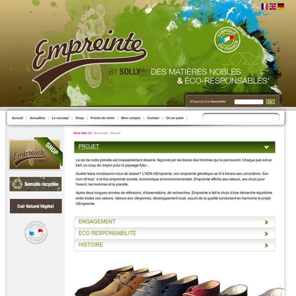 Empreinte : chaussures mode écologiques, fabrication française : Green Shoes - Sommaire - Accueil