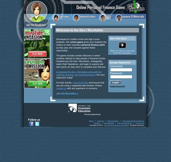 Personal Finance and Economics Education Online Game for teachers teaching grades 6 through 12 students - Gen i Revolution