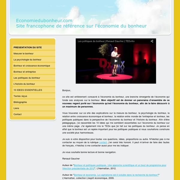 Economiedubonheur.com, le site francophone de référence sur l'économie du bonheur. - Economiedubonheur.com, le site francophone de référence sur l'économie du bonheur.