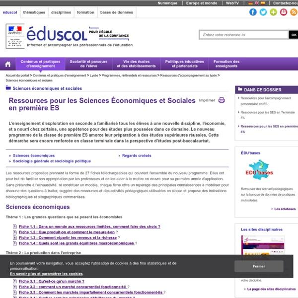 Sciences économiques et sociales - Ressources pour les SES en première ES