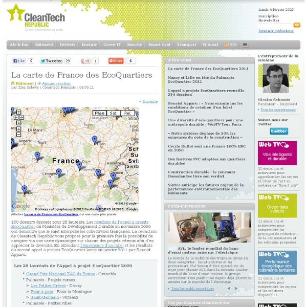 La carte de France des EcoQuartiers