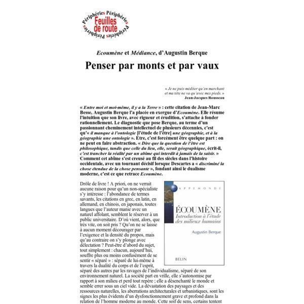 Ecoumène et Médiance, d'Augustin Berque