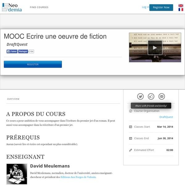 MOOC Ecrire une oeuvre de fiction