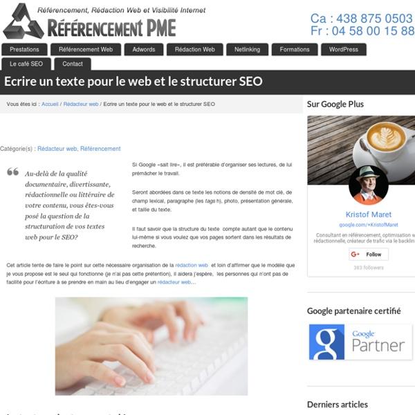 """Ecrire un texte pour le web:modèle de """"structure SEO"""""""