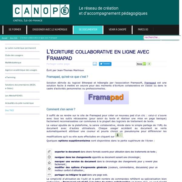 Canopé Créteil - L'écriture collaborative en ligne avec Framapad