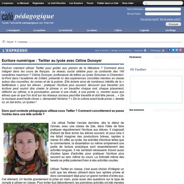 Ecriture numérique : Twitter au lycée avec Céline Dunoyer