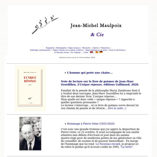 Jean-Michel Maulpoix & Cie, poésie moderne, écritures contemporaines