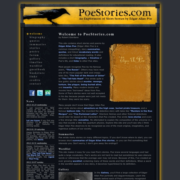the life story of edgar allen poe Poe's short stories edgar allan poe  in addition to the above features of the gothic story, poe  where the focus is upon the continuation of the life of.