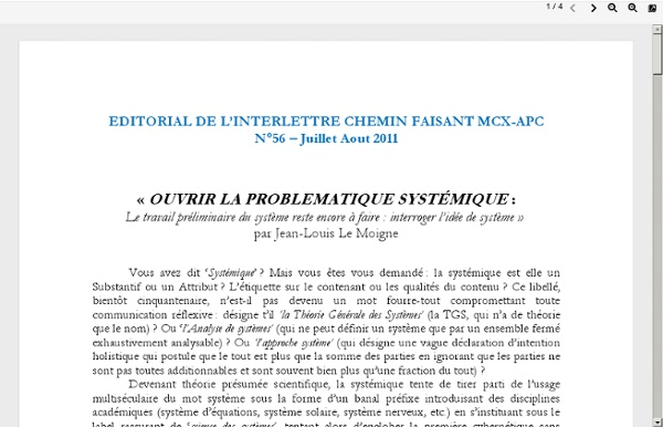 LeMoigne 2011 - problématique systémique
