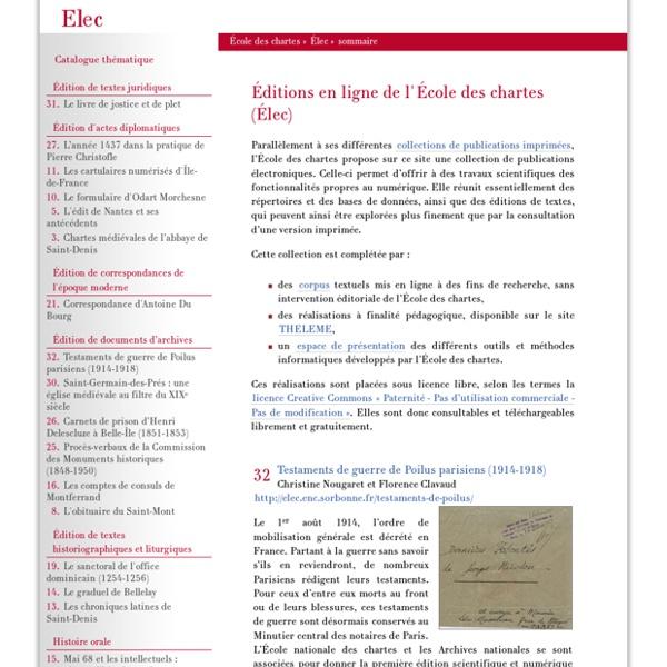 Éditions en ligne de l'École des chartes (ELEC)