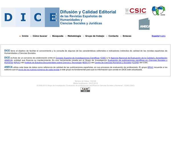 DICE. Difusion y Calidad Editorial de las Revistas Españolas de Humanidades y Ciencias Sociales