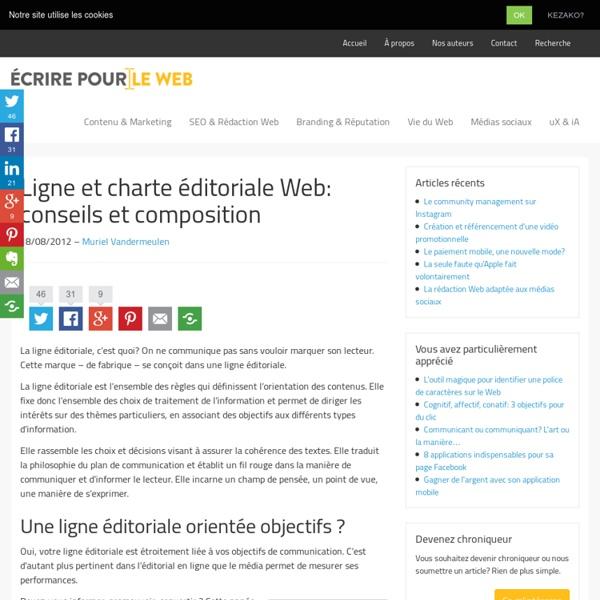Ligne et charte éditoriale Web: conseils et composition