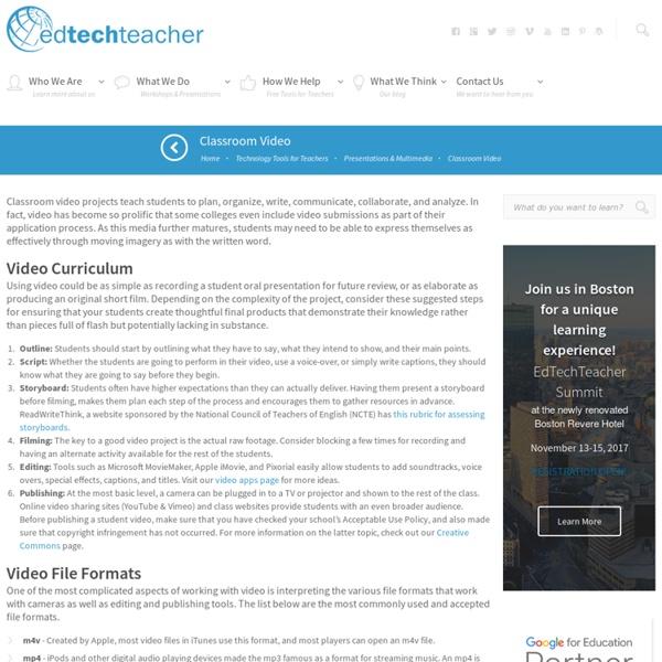 EdTechTeacher Classroom Videos - Projects, Curriculum, Tools & Tutorials