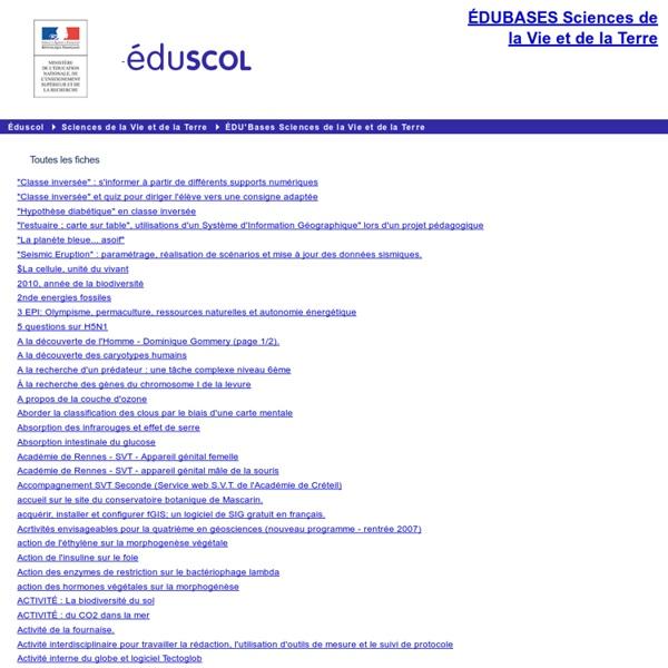 EDU'bases SVT - Toutes les fiches