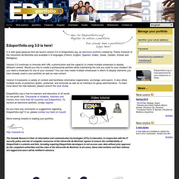 Exemple d'un portfolio électronique: Edu portfolio 3.0