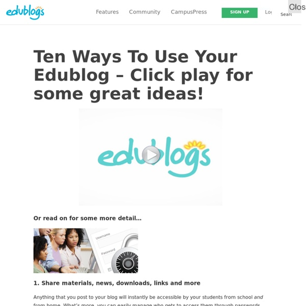 Ten Ways To Use Your Edublog – Click play for some great ideas! – Edublogs – free blogs for education