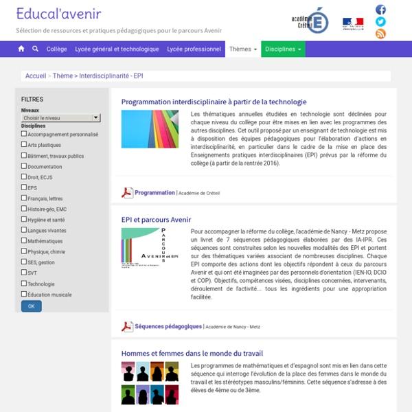 Educalavenir, des ressources pour le Parcours Avenir