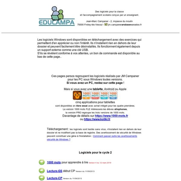 Educampa-Net - Des logiciels pour la classe et l'accompagnement scolaire réalisés par un enseignant