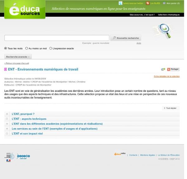 ENT - Environnements numériques de travail