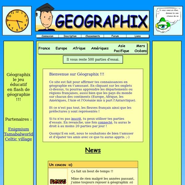 Le jeu éducatif de géographie en flash : Géographix !