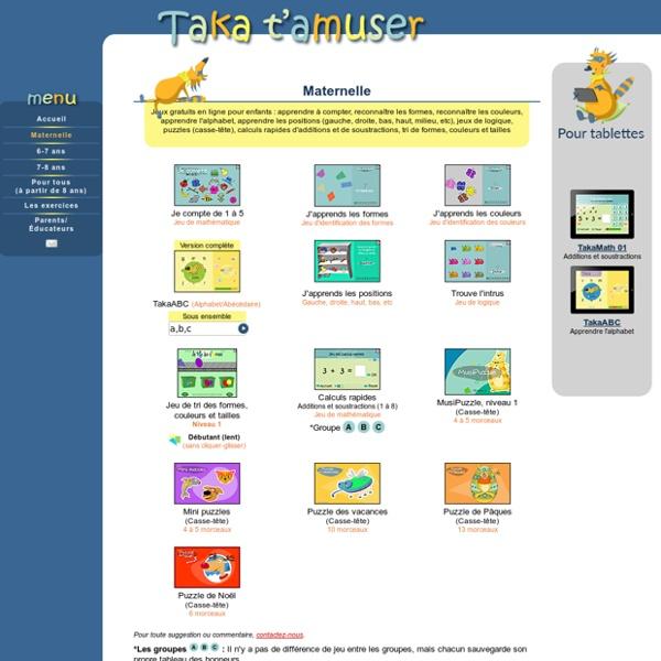 Jeux éducatifs pour enfants de la maternelle