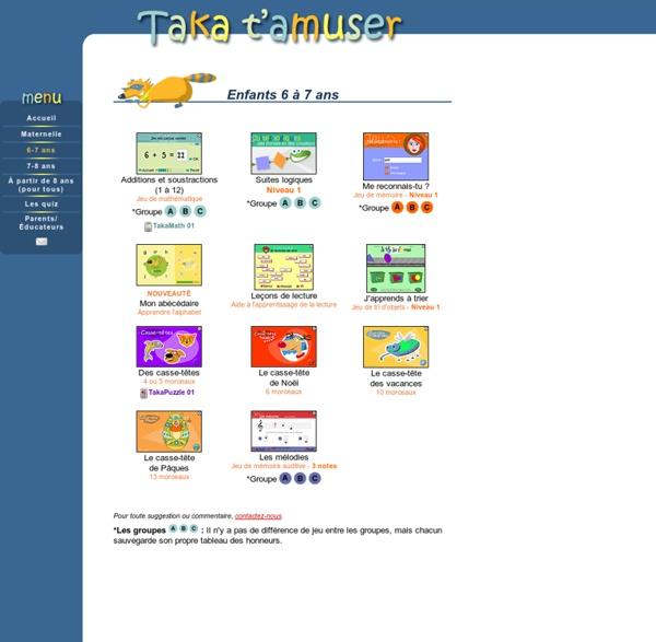 Jeux éducatifs pour enfants du primaire de 6 à 7 ans