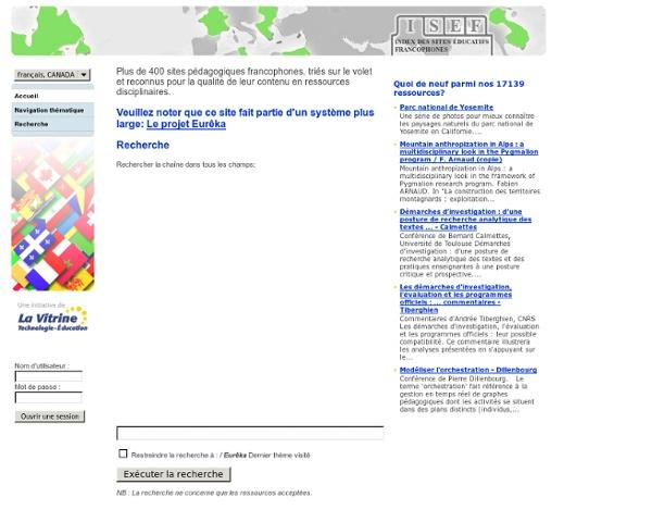Index des sites éducatifs francophones: page d'accueil