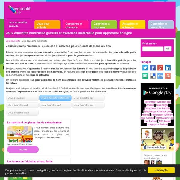 Jeux éducatifs maternelle en ligne pour petite section, moyenne section et grande section de 2 ans à 5 ans