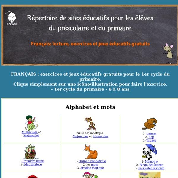 1er cycle du primaire - jeux éducatifs - français - lecture