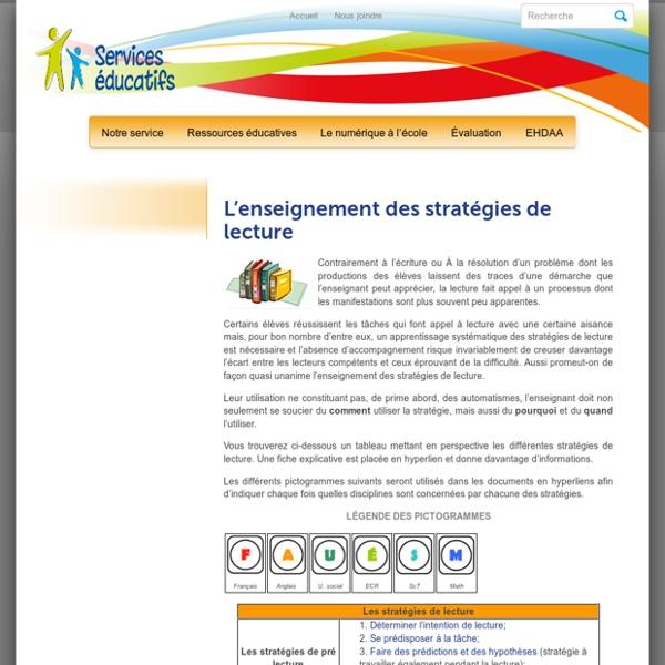 Services ÉducatifsL'enseignement des stratégies de lecture - Services Éducatifs