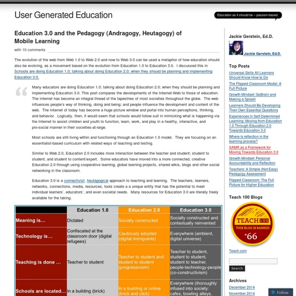 Education 3.0 and the Pedagogy (Andragogy, Heutagogy) of Mobile Learning