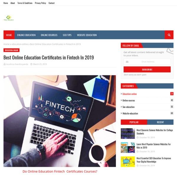 Best Online Education Certificates in Fintech In 2019
