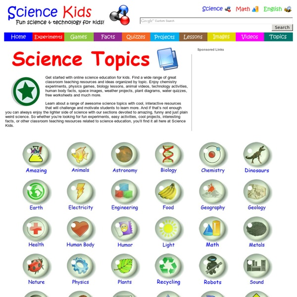 Online Science Education Topics for Kids - Classroom Teaching Resources by Topic