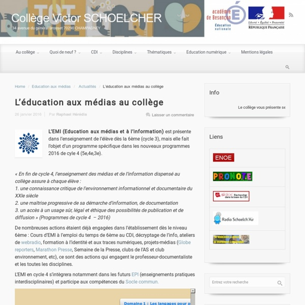 L'éducation aux médias au collège – Collège Victor SCHOELCHER