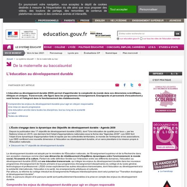 MEN - L'éducation au développement durable