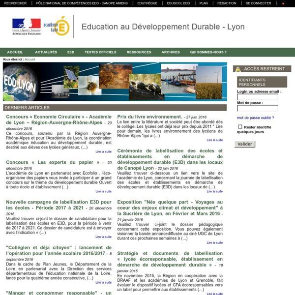 Education au Développement Durable Académie de LYON