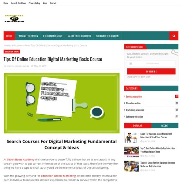 Tips Of Online Education Digital Marketing Basic Course