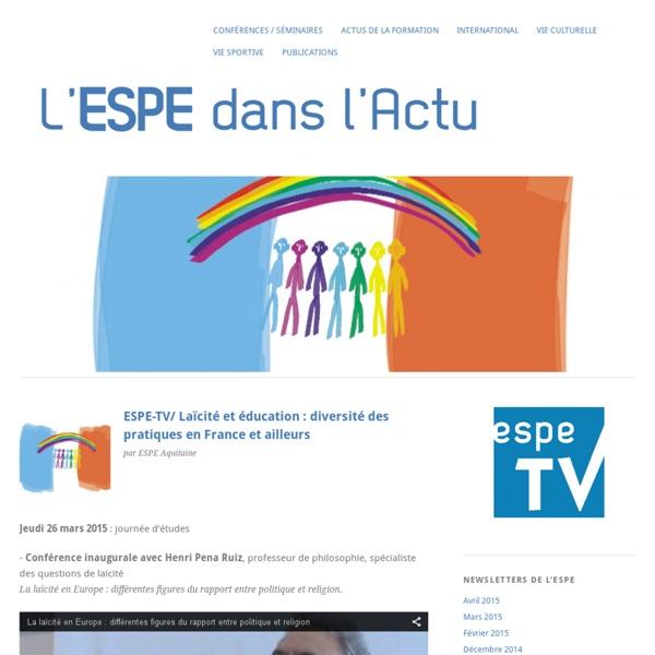 ESPE-TV/ Laïcité et éducation : diversité des pratiques en France et ailleurs
