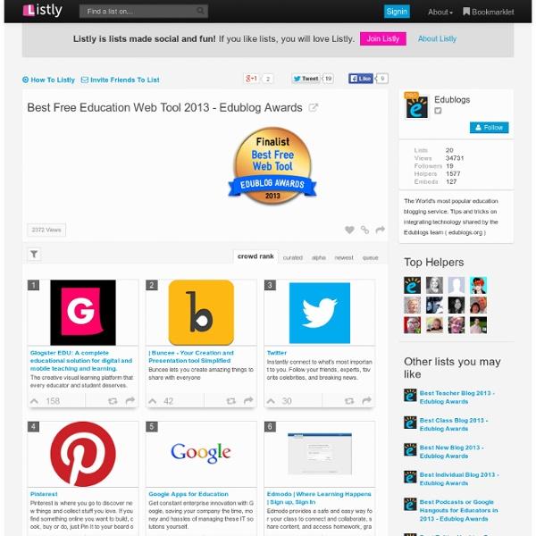 Best Free Education Web Tool 2013 - Edublog Awards #eddies13