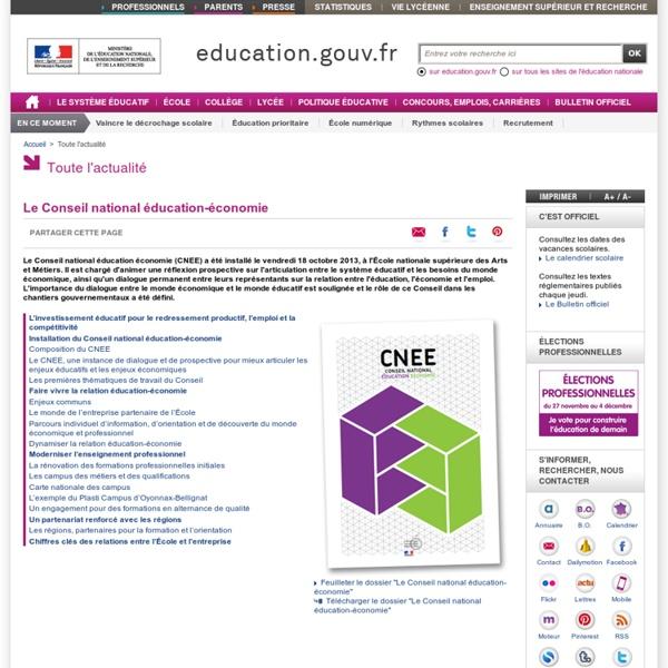 Le Conseil national éducation-économie