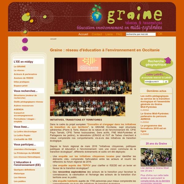 Graine Midi-Pyrénées - Réseau d'éducation à l'environnement - Graine : réseau d'éducation à l'environnement en Midi-Pyrénées