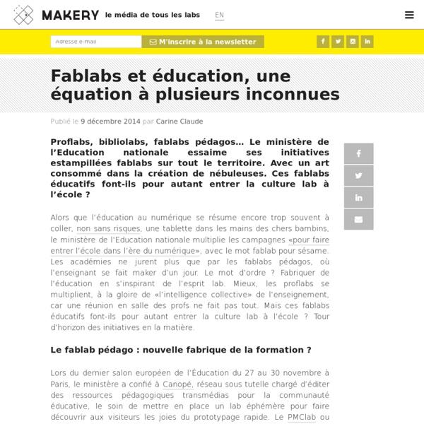 Fablabs et éducation, une équation à plusieurs inconnues