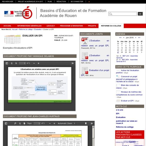 Bassins d'Éducation et de Formation Académie de Rouen - Evaluer un EPI