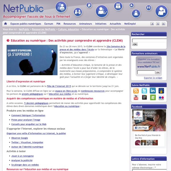 Education au numérique : Des activités pour comprendre et apprendre (CLEMI)