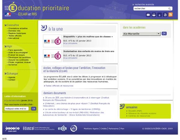 SITE + RSS + LETTRE SCÉRÉN : Éducation prioritaire