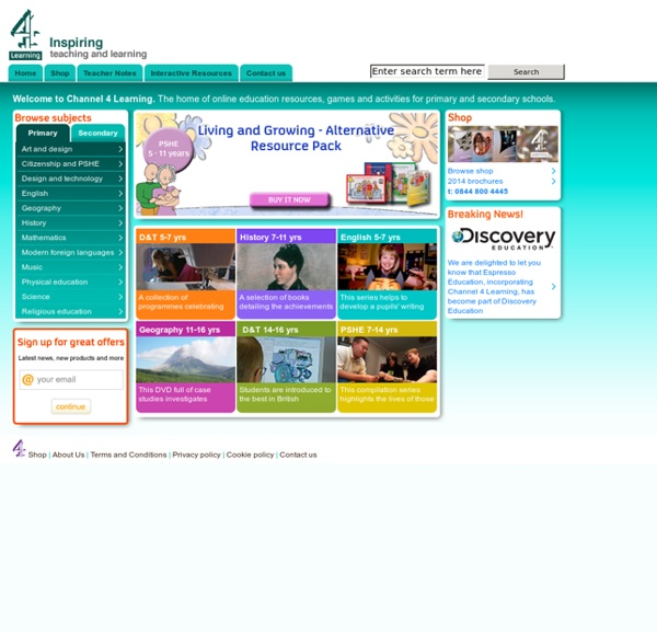 Channel 4 Learning - DVDs, CD-Roms and free online education resources and activities for schools