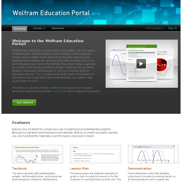 Wolfram Education Portal: Free Resources and Materials for Teachers